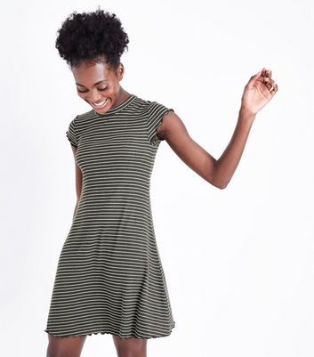 Khaki Stripe Frill Hem Swing Dress