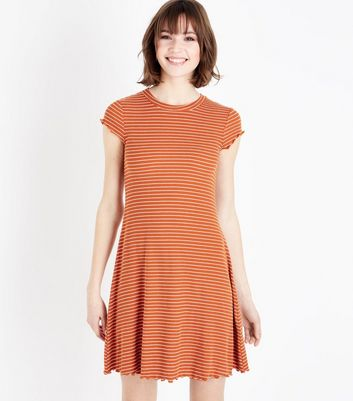 Orange Stripe Frill Hem Swing Dress