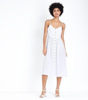 Robe Mi Longue Blanche Boutonnée à L'avant by New Look