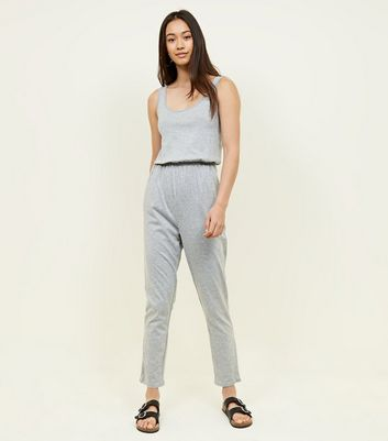 Grey Jersey Sleeveless Jumpsuit