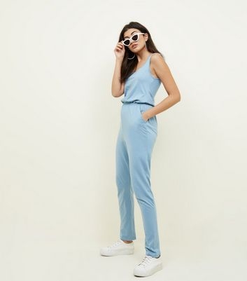 Pale Blue Jersey Sleeveless Jumpsuit