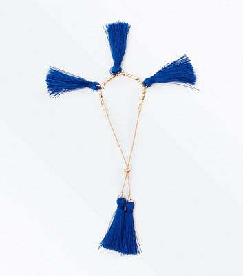 Blue Tassel Toggle Bracelet
