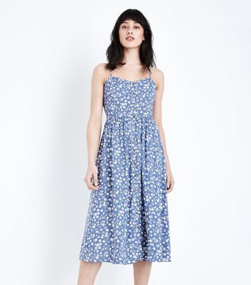 ... Pale Blue Ditsy Floral Midi Dress