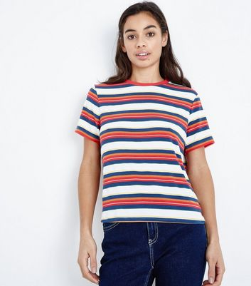 Petite Multi Coloured Stripe Ringer Tee