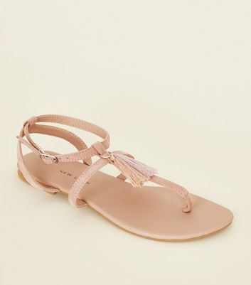 Teens Nude Tassel Ankle Strap Flat Sandals by New Look