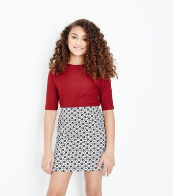 Teens Black Geometric Floral Print Skirt