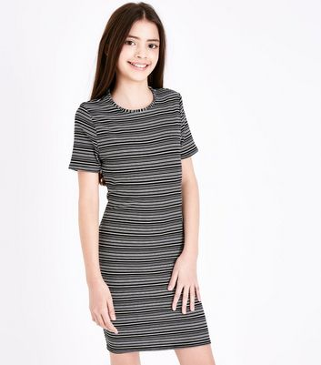 Teens Black Stripe Jersey Bodycon Dress