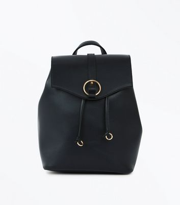 Black Leather-Look Ring Front Backpack