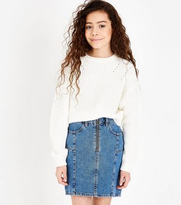 Teens Blue Zip Front Denim Skirt