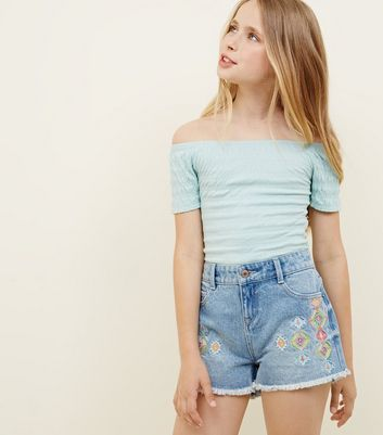 Girls Pale Blue Aztec Embroidered Denim Shorts