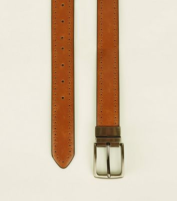 Tan Brogue Detail Reversible Belt