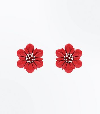 Red Diamante Flower Stud Earrings