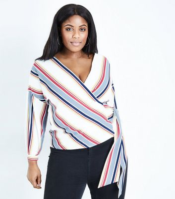 Curves White Stripe Wrap Front Top