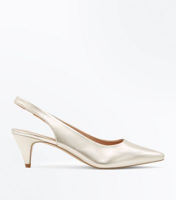 Gold Metallic Slingback Cone Heel Courts