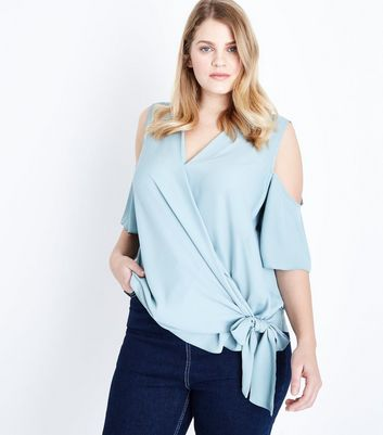 Curves Mint Green Wrap Tie Front Top
