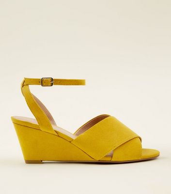 Mustard Suedette Ankle Strap Peep Toe Wedges