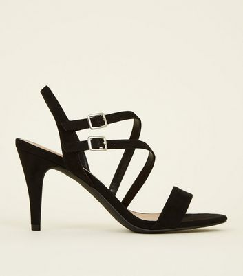 Black Suedette Asymmetric Strap Heeled Sandals