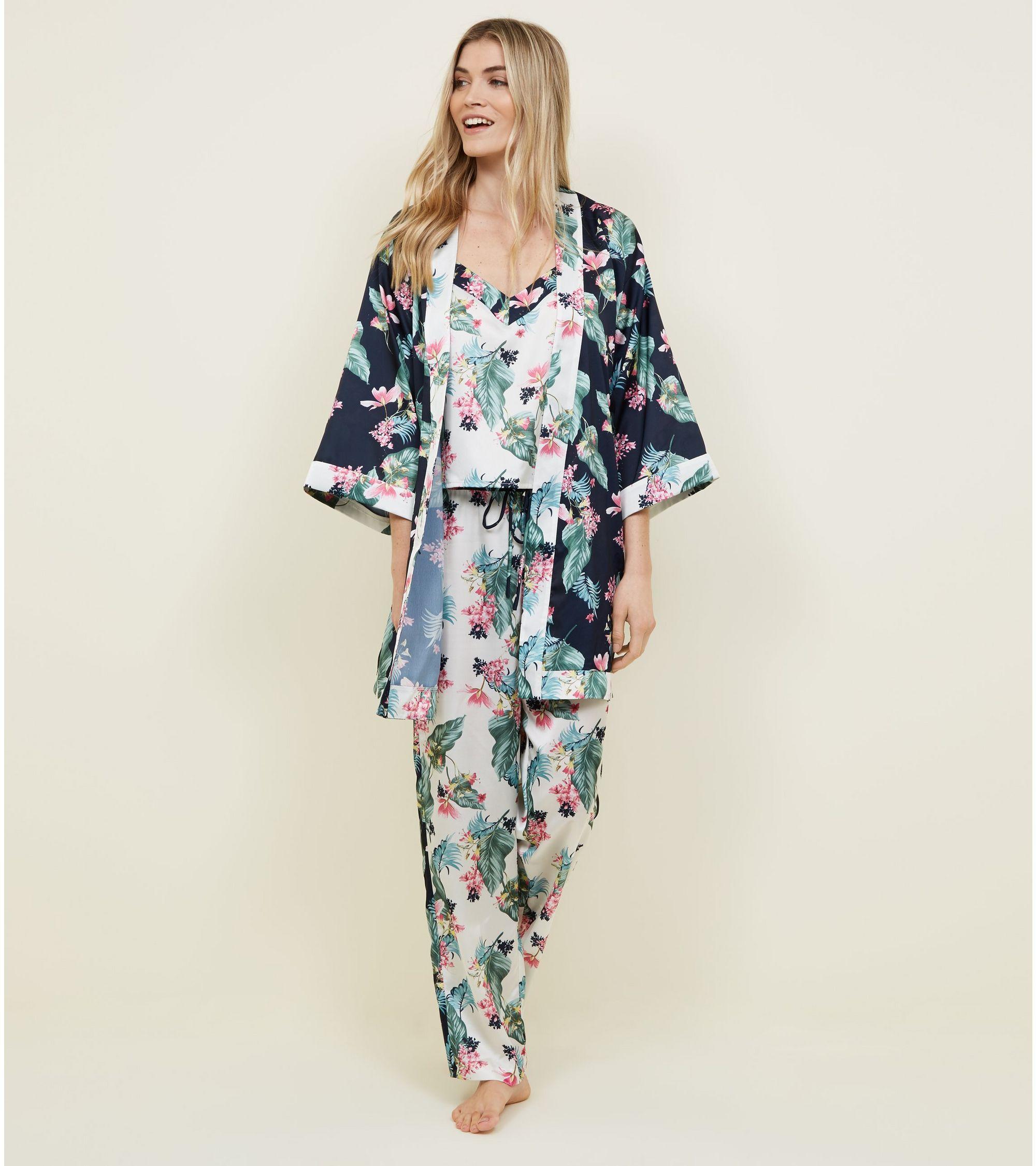 da8c744609 New Look Soraya Blue Floral Leaf Print Satin Robe at £22.99