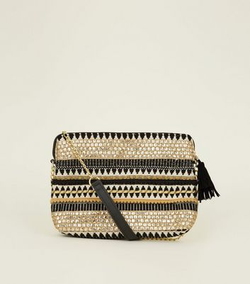 Black Aztec Trim Woven Clutch Bag