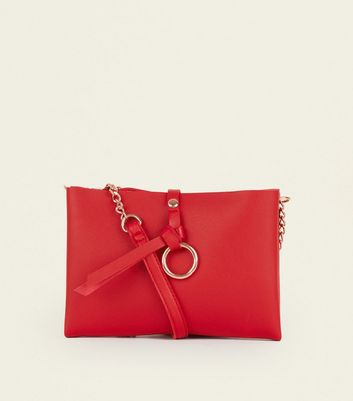 Red Leather Look Chain Shoulder Bag by New Look