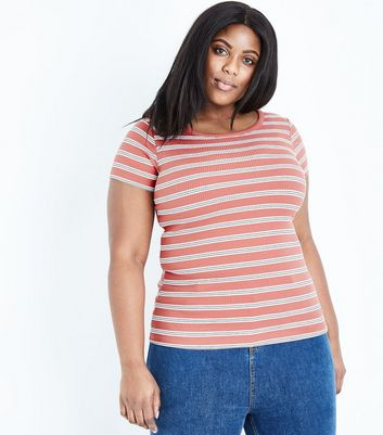 Curves Rust Stripe Short Sleeve T-Shirt