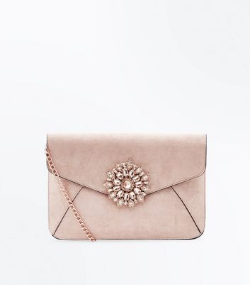 Pale Pink Brooch Front Clutch Bag
