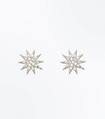 Silver Cubic Zirconia Star Stud Earrings