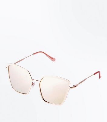 Pink Mirror Lens Angular Oversized Sunglasses