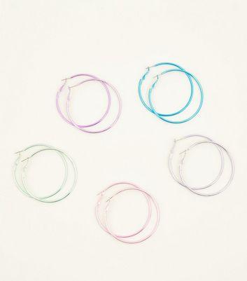 5 Pack Multicoloured Metallic Hoop Earrings by New Look