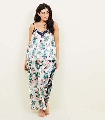Soraya Curves Off White Floral Leaf Print PyjamaTrousers