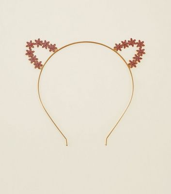 Rose Gold Glitter Floral Cat Ears