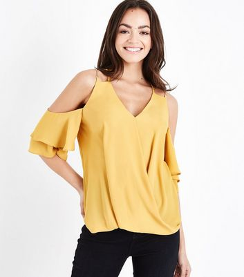 Yellow Chain Strap Cold Shoulder Top