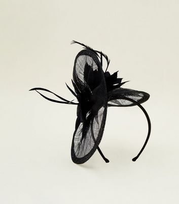 Black Mesh Feather Fascinator Headband