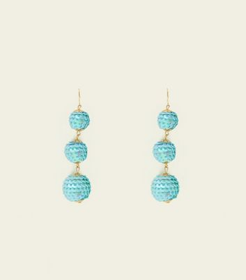 Pale Blue Sequin Orb Drop Earrings