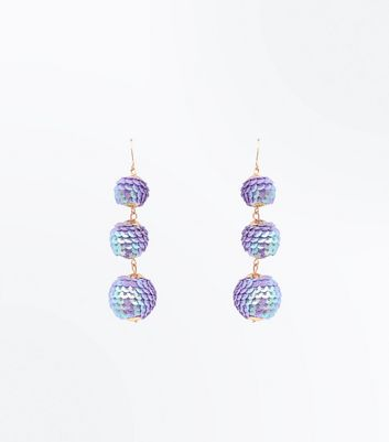 Lilac Sequin Orb Drop Earrings