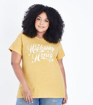 Curves Mustard Highway Honey Slogan T-Shirt