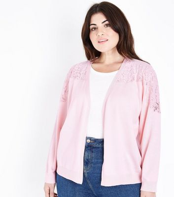 Curves Pale Pink Lace Yoke Cardigan