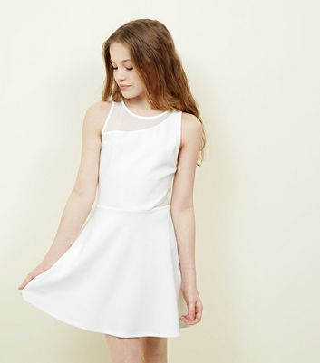 Teens White Mesh Scuba Skater Dress