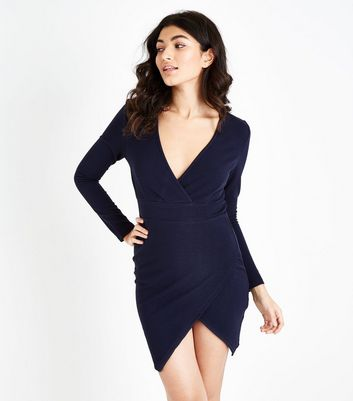AX Paris Navy Wrap Front Bodycon Dress