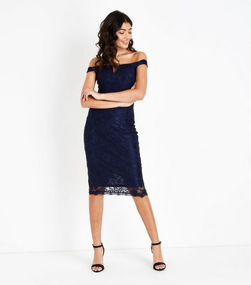 AX Paris Navy Lace Notch Neck Dress