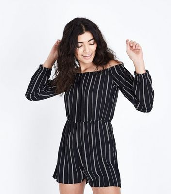 AX Paris Black Stripe Long Sleeve Playsuit