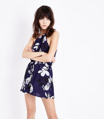 AX Paris Blue Floral Drawstring Waist Playsuit