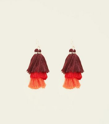 Red and Orange Tiered Tassel Drop Earrings