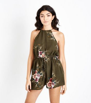 AX Paris Khaki Floral Drawstring Waist Playsuit