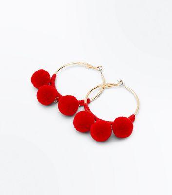 f5958511d0359d Shoptagr | Red Pom Pom Hoop Earrings by New Look