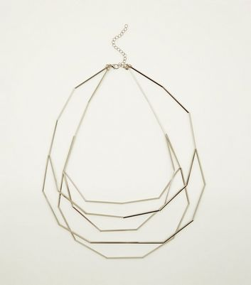 Silver Angular Layered Necklace