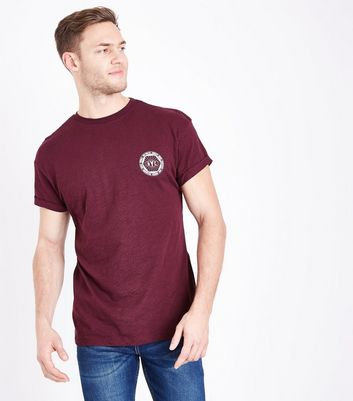 Burgundy NYC Printed Chest T-Shirt