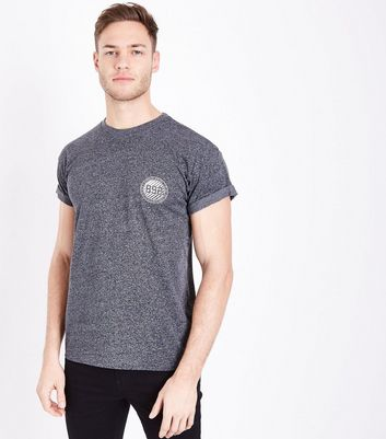 Light Grey B92 Chest Print Marl T-Shirt