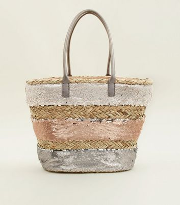 Stone Sequin Panel Basket Bag