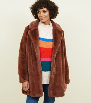 Rust Faux Fur Longline Coat